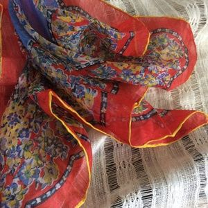 Vintage Accessories - Mini Silk Sheer Neck Scarf Red Yellow and Blue